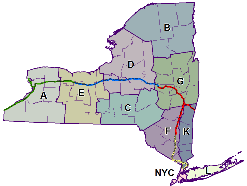 Map detailing Troop Patrol areas and relevant counties