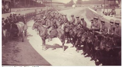 "1917  The First wave of Trooper to arrive in Troop ""A"" at the Genesee County Fair grounds"