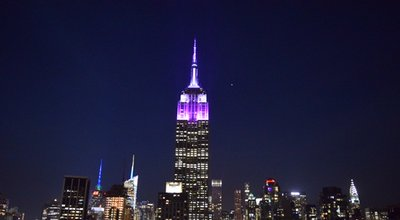 New York State Police colors adorn the Empire State Builing