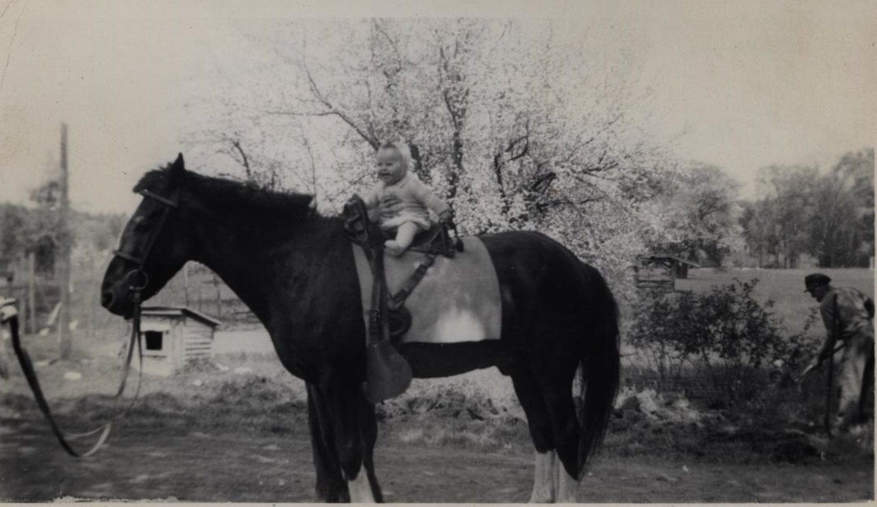 Jim as a baby on top of his father's horse