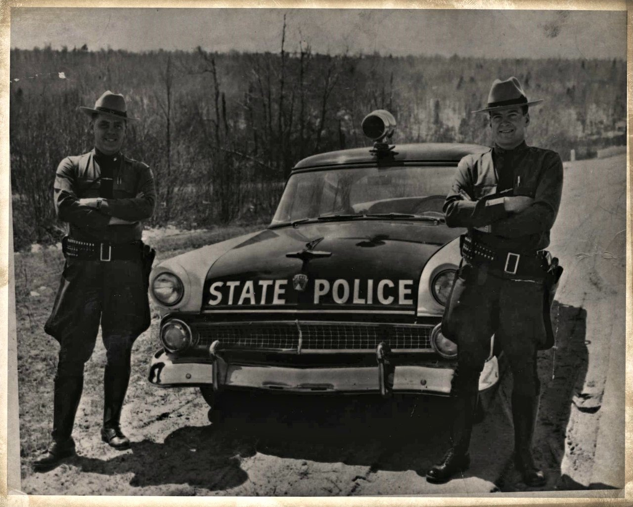 Trooper J.S. Kelley, and Trooper Jack Lawliss, 1955 in Tupper Lake