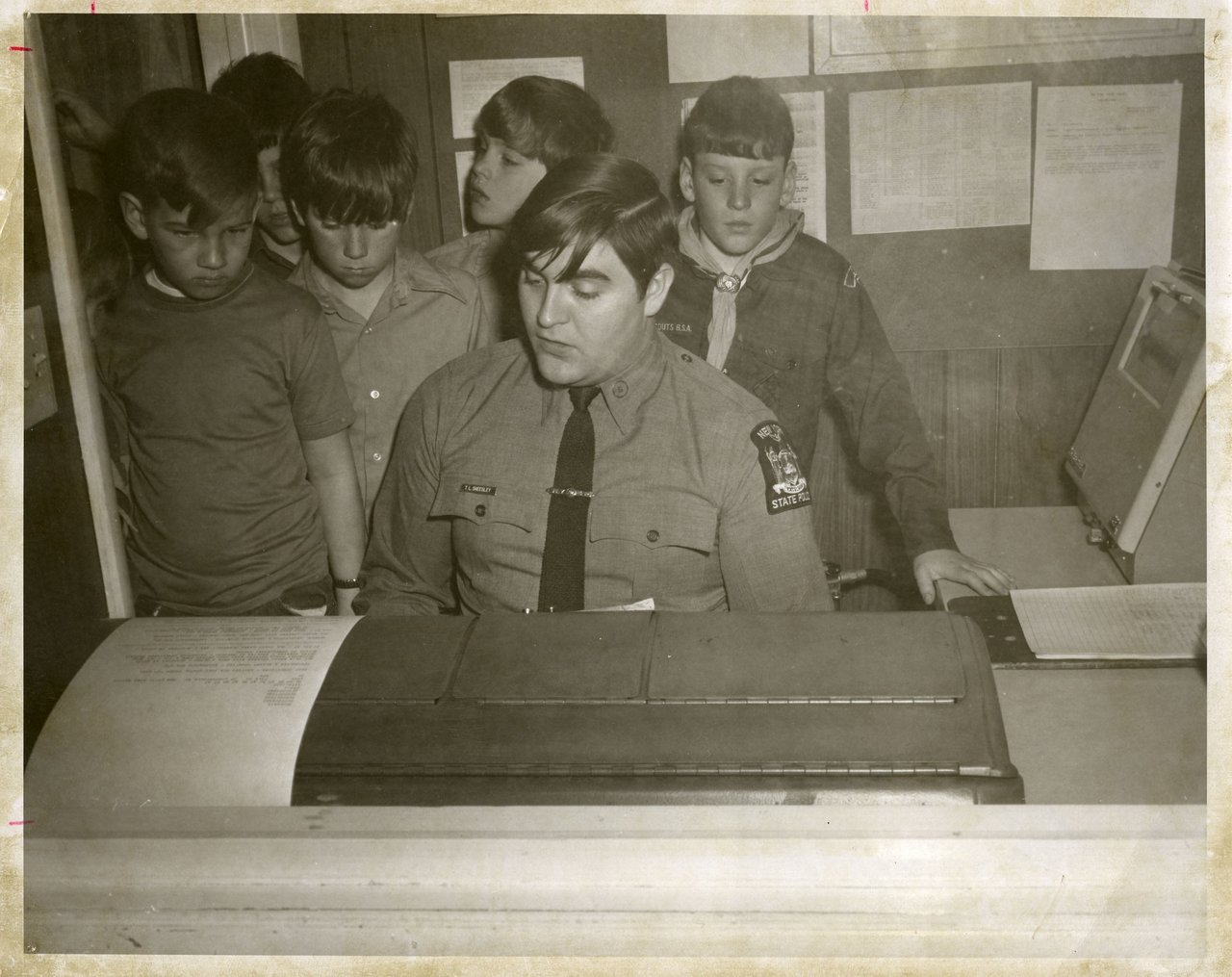 Trooper Tracy Sheesley at old SP Canton with area Cub Scouts